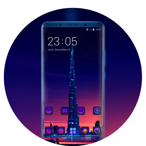 Theme for gradient light building wallpaper icon