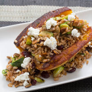 Acorn Squash, Brussels Sprout & Farro Salad with Crispy Pepitas & Cranberry Agrodolce.