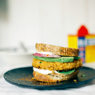 chickpea, cauliflower + Old Bay veggie burgers w/ cashew lemon mayo