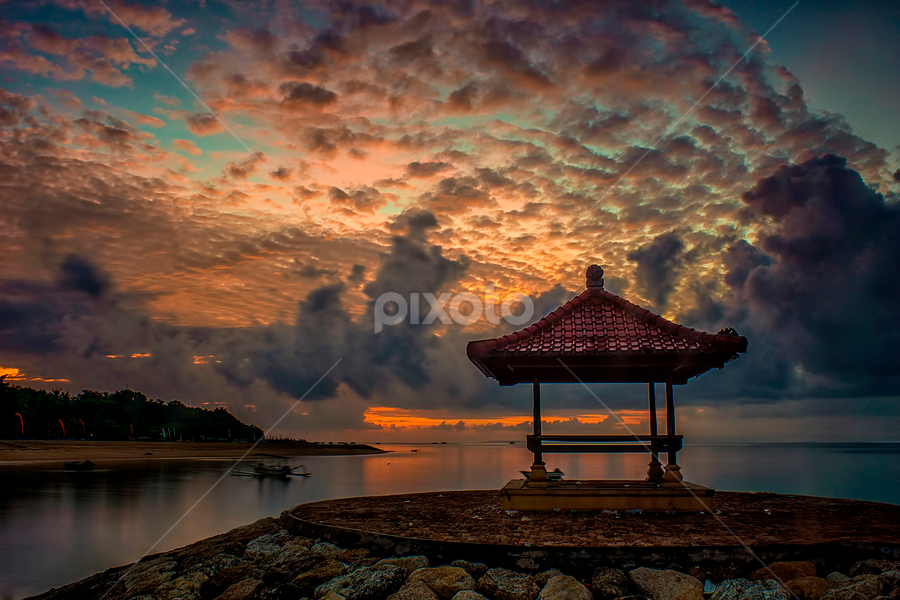 .:: iconic sanur ::. by Setyawan B. Prasodjo - Travel Locations Landmarks ( icon, bali island, red sky, waterscape, smooth wave, leissure, tourism, travel, seascape, beach, landscape, dusk, slow speed photography, landmark, gradual neutral density filter, mertasari beach, dawn, vacation, sunset, hideaway, sunrise, stones, gazebo )