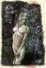 "Photo: 'skinbones,' 2011, 20cm x 28.5cm, 8"" x 11.25"", India, acrylic and fountain pen inks, watercolour pencils, Moleskine Folio Sketchbook A4."
