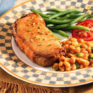 CAROLINA GOLDEN PORK CHOPS AND BAKED BEANS