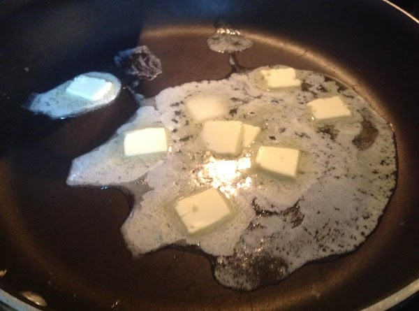Melt butter in a large skillet, I used a 16 inch size skillet. Use...