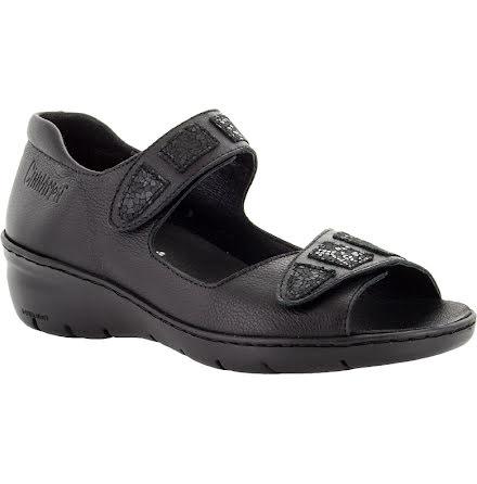 Birgit svart sandal med hälkappa och kardborre