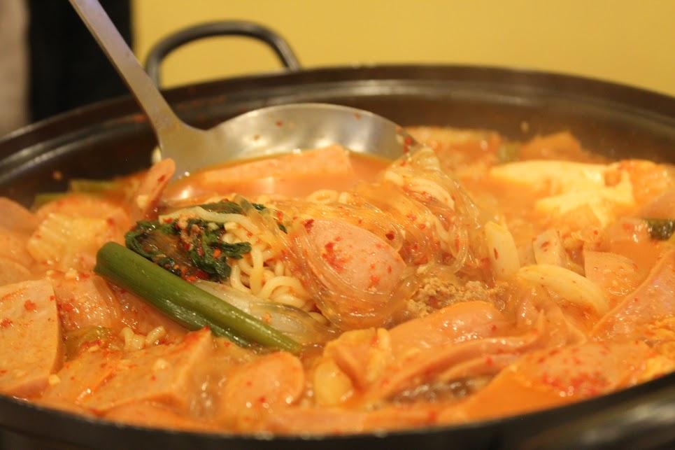 Cooking Budae Jjigae at Uijeongbu Budae Jjigae in Toronto 부대찌개 토론토