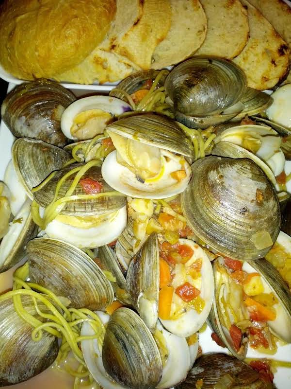Bacon, And Garlic And Clams, Oh My!!!  Oh My Is Right, This Combination With A Wonderful Veggie Broth And Soba Noodles Are The Perfect Meal For Friends And Family.  Don't Forget The Crusty Bread To Soak Up All The Broth!!!  Enjoy!