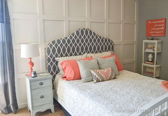 Refresh Your Gray and White Bedroom with Coral Touches
