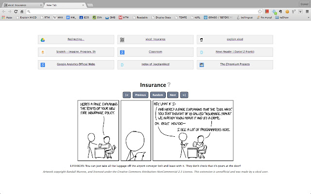New tab page with the latest XKCD