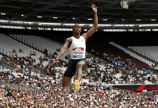 Bound for glory: SA's Luvo Manyonga flies through the air to win the long jump at the Anniversary Games on Sunday. Picture: REUTERS