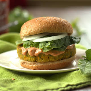 Indian Curry Veggie & Chickpea Burgers.