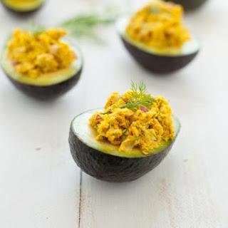 Turmeric Chickpea Salad Avocado Boats.