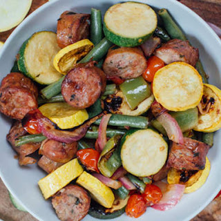 Marinated Summer Veggies with Chicken Sausage