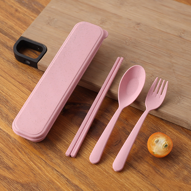 Three-piece Wheat Straw Utensils Set for Children and Adults