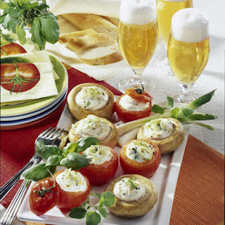 Grilled Mushrooms and Tomatoes Stuffed with Cheese.
