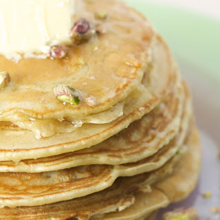 Cardamom Pancakes with Orange Blossom Syrup & Pistachios