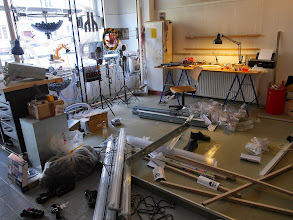 Photo: Mess in the workshop while wiring up ten flourescent lamps
