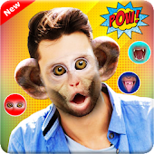 Snap Monkey Face Sticker - Animal Face Changer