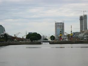 Photo: Closeup of Santiago Calatrava's Punete de la Mujer (swing bridge)