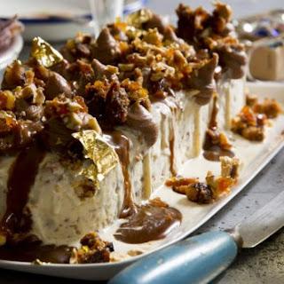 Plum Pudding Ice-cream With Caramel Sauce And Hazelnut Praline