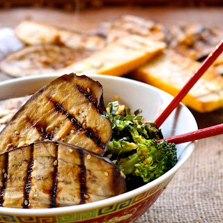 Ginger Sesame Grilled Eggplant with Fried Rice