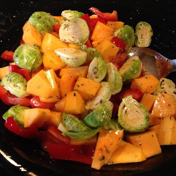 PREHEAT BBQ TO HIGH HEAT. IN A LARGE BOWL COMBINE BUTTERNUT SQUASH, BRUSSEL SPROUTS...