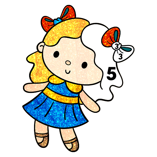 Dolls Glitter Color by Number: Girls Coloring Book Icon
