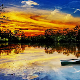 by Len  Janes - Digital Art Places ( water, sky, sunset, reflections, lake, boat, landscape )
