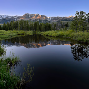 Boulder ponds at sunset by Tory Taglio - Landscapes Mountains & Hills ( idaho, mountains, sunset, tory tagio, sun valley, pond, boulder ponds at sunset )