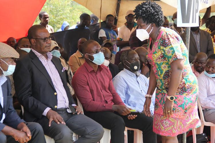 Former Kasipul MP Oyugi Magwanga, ex-Nairobi Governor Evans Kidero, Senator Moses Kajwang and Rangwe MP Lilian Gogo duirng a funeral in Gongo village in Rangwe on February 5, 2021