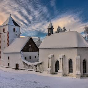 Snowed in church by Peter Zajfrid - Travel Locations Landmarks ( pohorje, slovenija, sunset, slovenia, bolfenk )