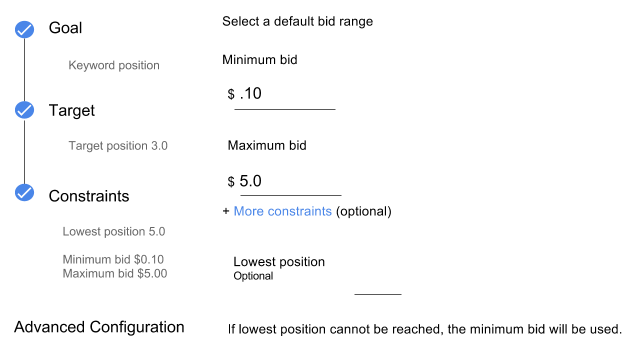 Position bid strategy settings with new lowest position option