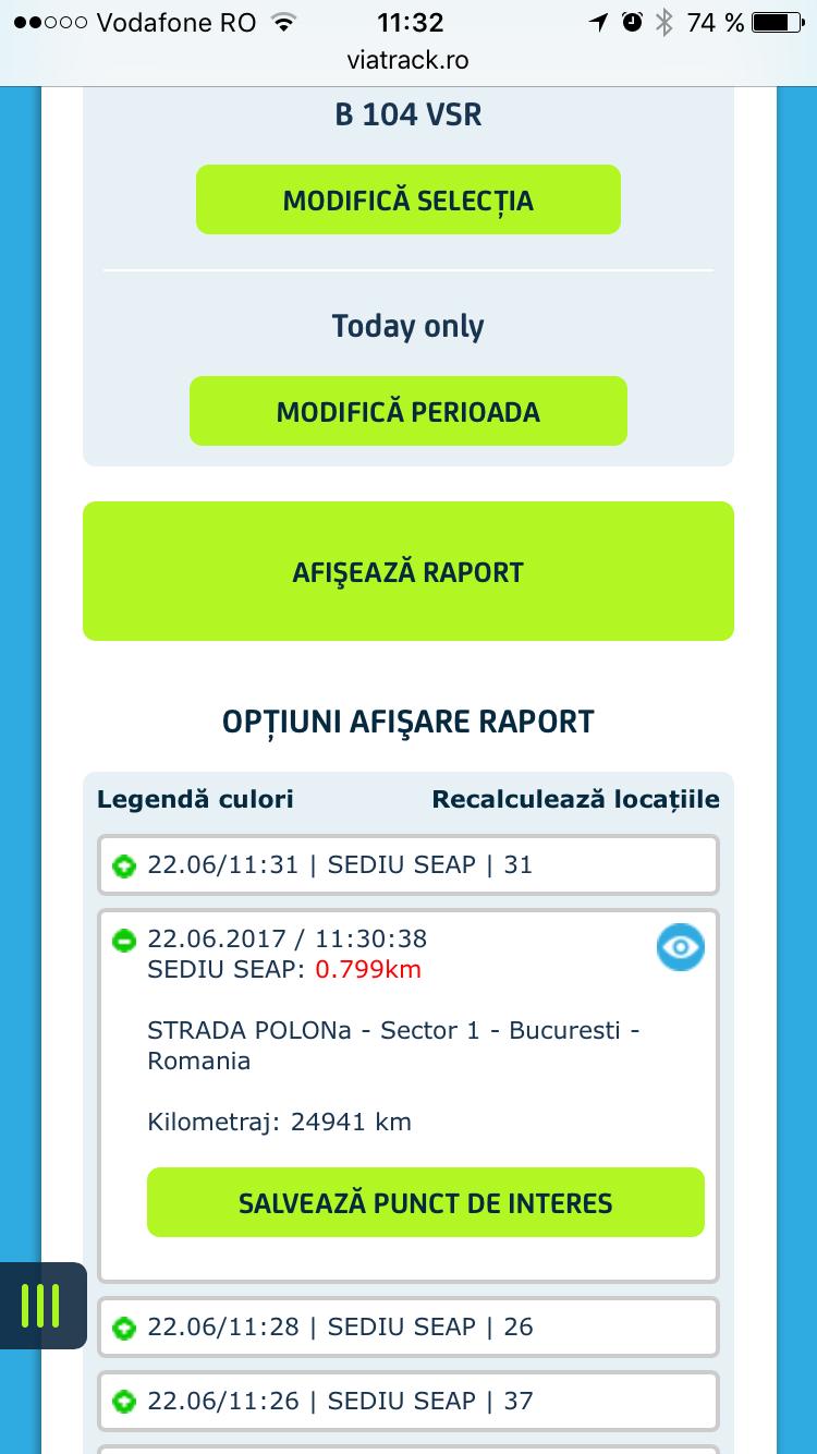 Скриншот ViaTrack app