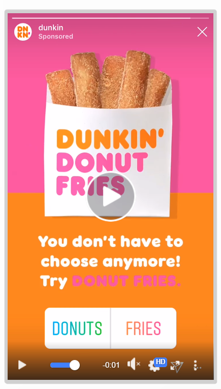 Story có kèm nhãn dán khảo sát ý kiến của Dunkin (Ảnh: singlegrain.com)