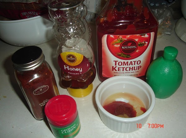 In a small bowl, combine ingredients for ketchup mixture and set aside.  Cook...