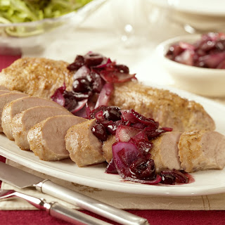 Pan-Seared Pork Tenderloin with Sweet Cherry-Onion Jam.