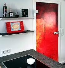 Photo: GLAVIVA • Digitaldruck auf Glas •www.glaviva.de  Digital bedruckte Glastür mit einem Gemälde auf Glas gedruckt (ESG 10mm)