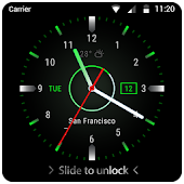 Black clock lock screen for android phone