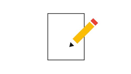 Ilustração de um lápis sobre uma folha de papel
