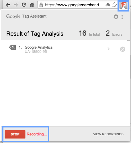 Google Tag Assistant stop recording button