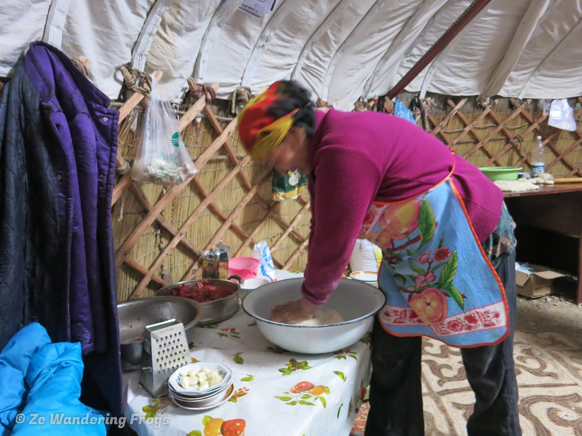 Mongolia. Golden Eagle Festival Olgii. Dumplings Preparation