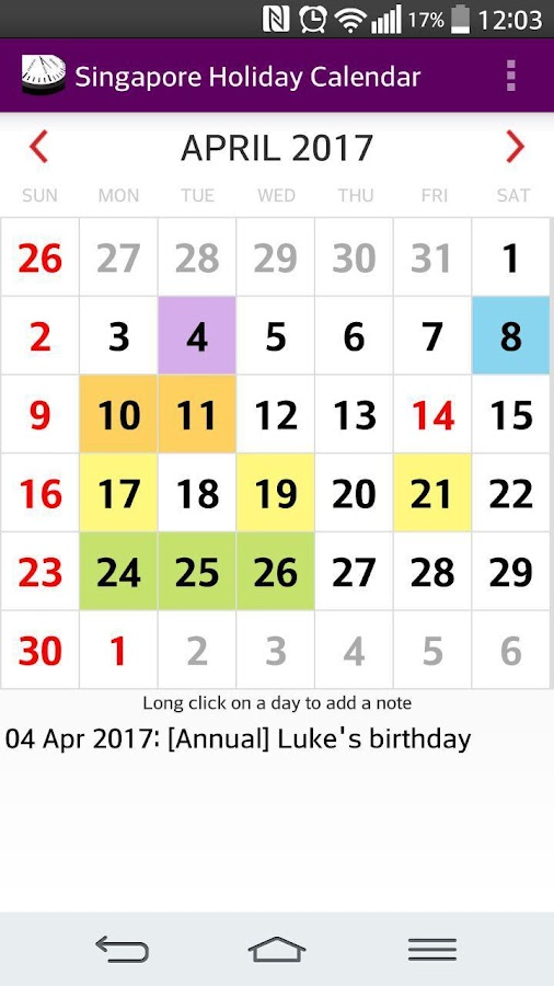 2017 singapore calendar adfree android apps on google play for Ptz 2017 simulation