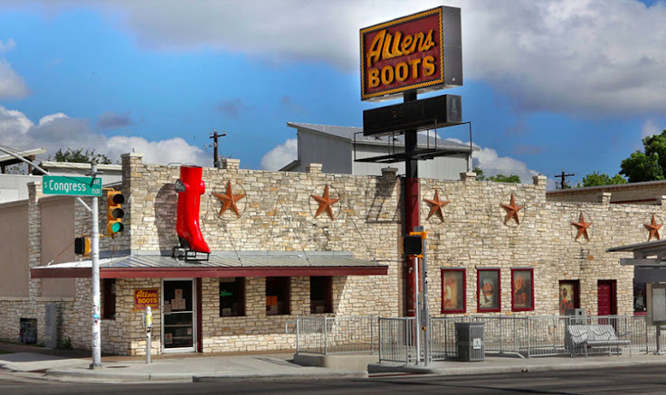 The iconic red boot in the front of Allens.