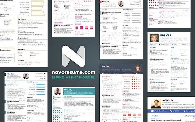 novoresume   resume cv builder   chrome web storeeverything you need in order to create a perfect résumé