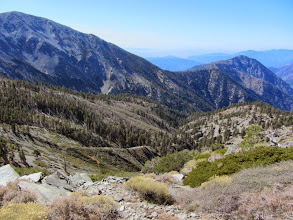 Photo: View southwest from the south ridge of Pine Mt. toward West Baldy (left) and Iron Mt. (right)