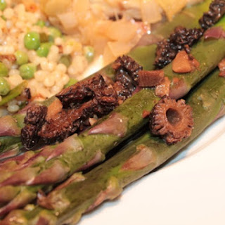Purple Asparagus With Morel Butter.
