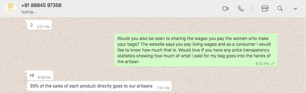 Ziveli artisan share of profits