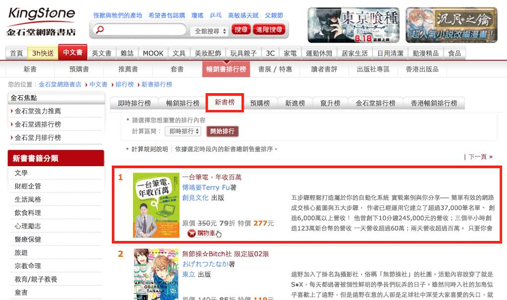 金石堂網路書店新書榜第一名!