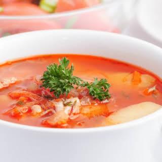 Easy Italian potato and tomato soup.