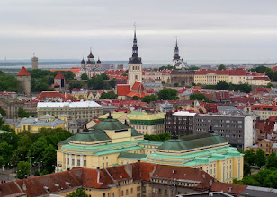 Photo: View from the top floor of my hotel.  The first skyscraper in Tallinn was built in 1994 after their independence from Russia.