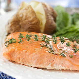 Baked Trout (or Salmon) with Honey-Thyme Glaze.